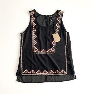 LES AMIS Sheer Black Embroidered Sleeveless Blouse